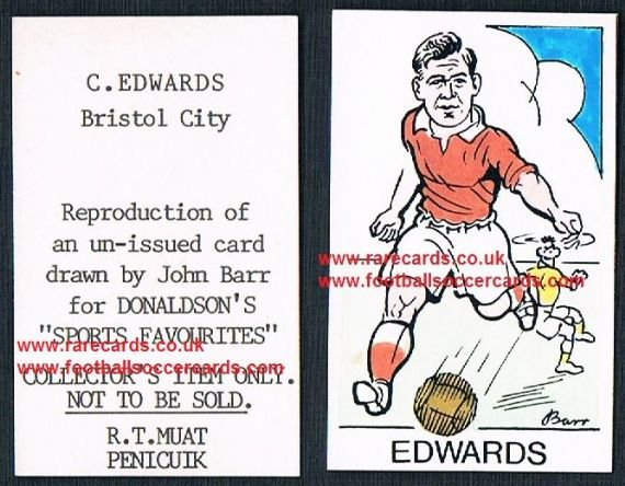 1968 Barr Muat Donaldson unissued 1948 promo card C. Edwards Bristol City